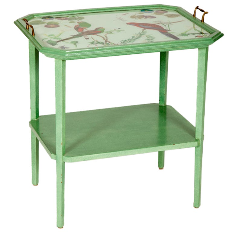 American Painted Table With Decoupage Tray Top At 1stdibs