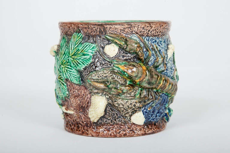 French Majolica Palissy Ware Vase By Thomas Sergent At 1stdibs