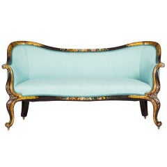 English Victorian Lacquered Settee