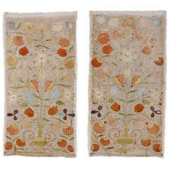 Pair of Castelo Branco Embroidered Hangings