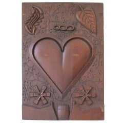 Carved Wood Wedding Token Of Love Heart Panel