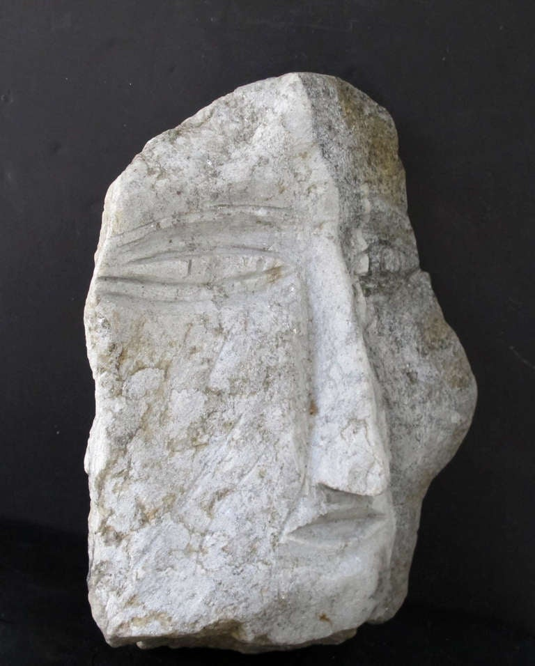 Folk Art Banded Granite Head by Ted Ludwiczak For Sale
