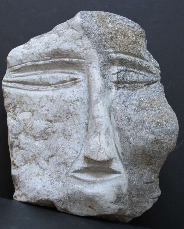Carved head sculpture by self taught artist Ted Ludwiczak B.1927.