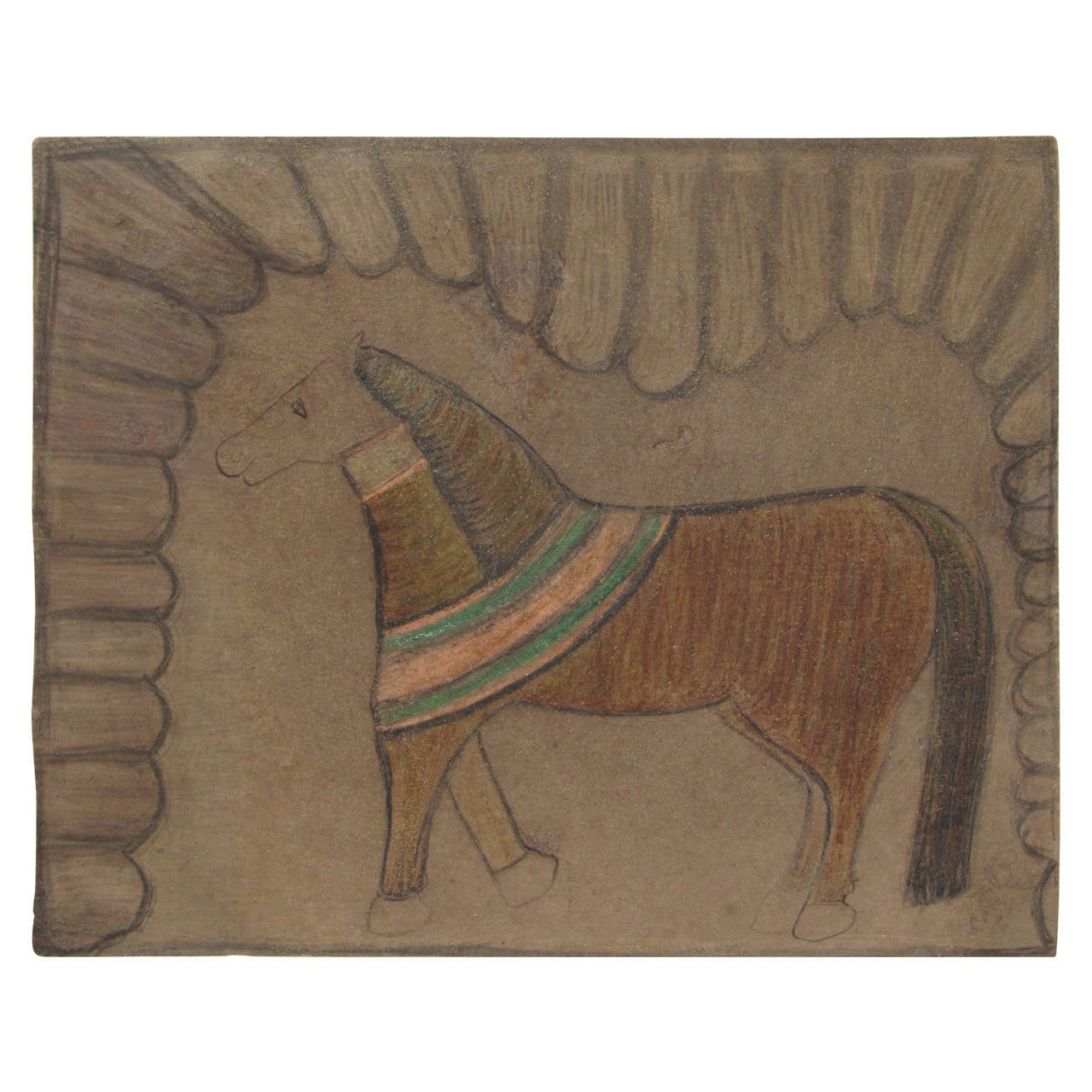 Southern Horse Drawing with Curtain For Sale