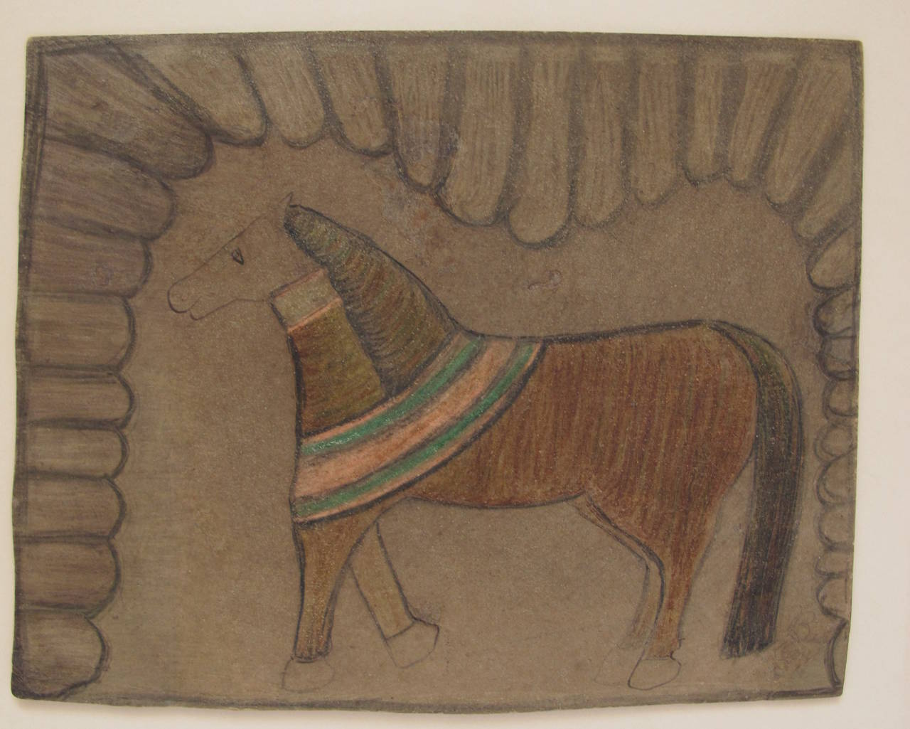 Folk Art Southern Horse Drawing with Curtain For Sale