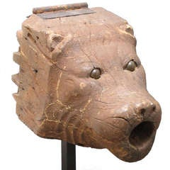 Wood Folk Art Bear Head