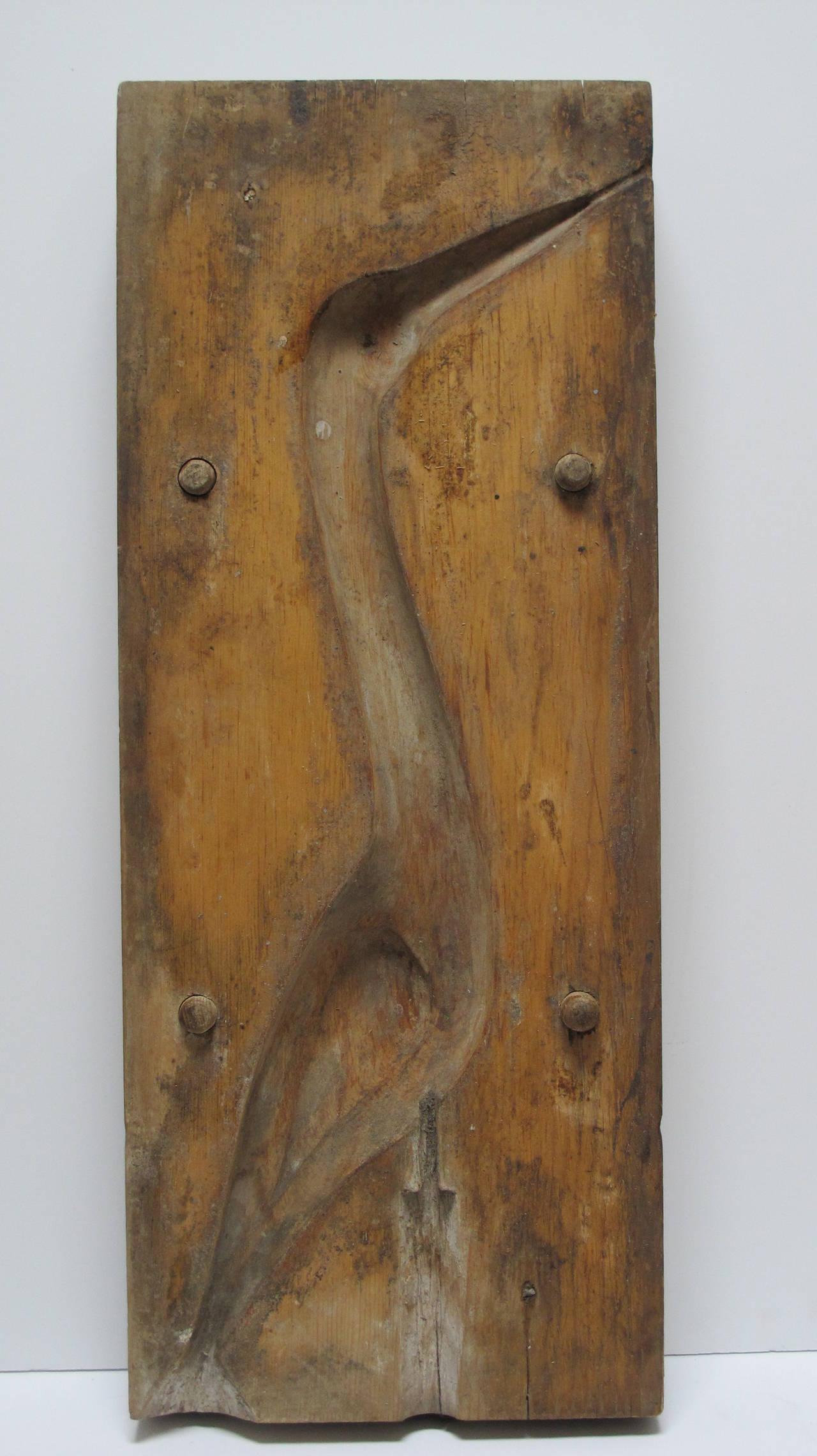 Wooden Egret Mold Sculpture For Sale At 1stdibs