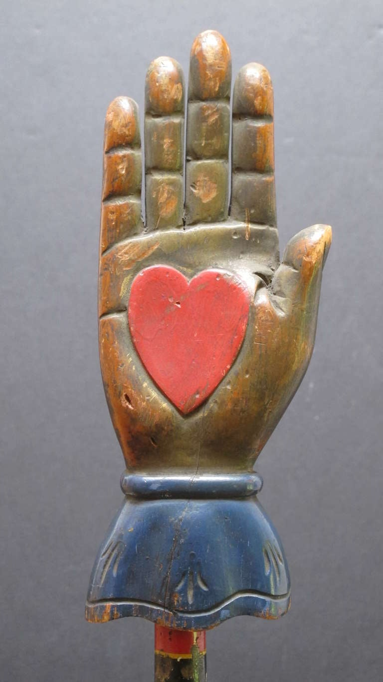 Heart In Hand Carving From An Odd Fellows Lodge At 1stdibs