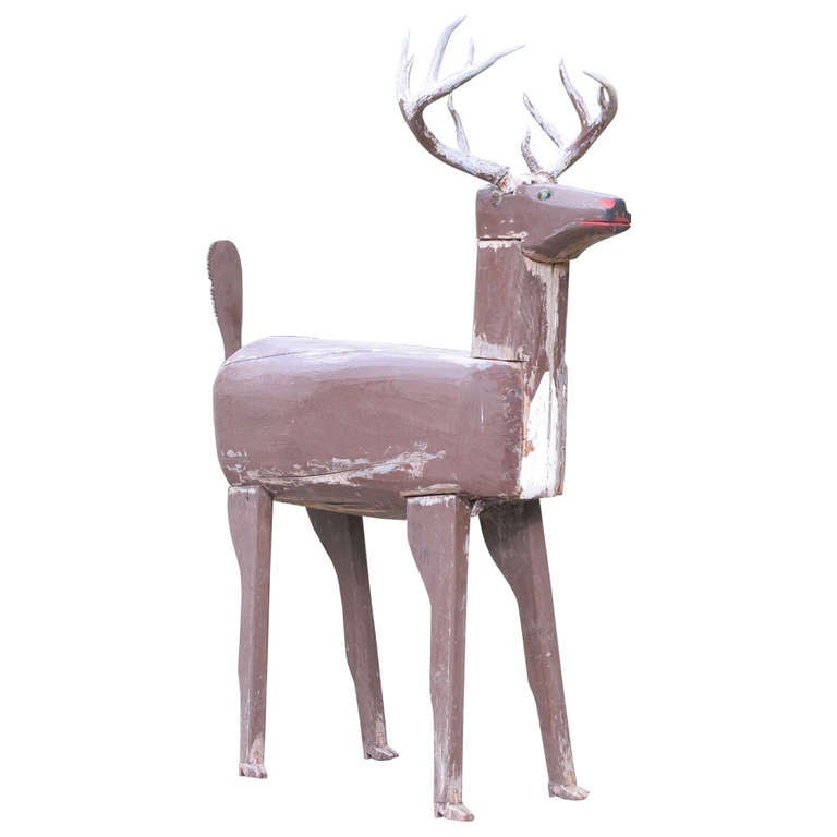 Life Size Wood Deer Folk Sculpture