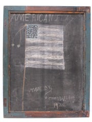 Framed Slate Blackboard With Chalk Tray And Flag On The Back image 2
