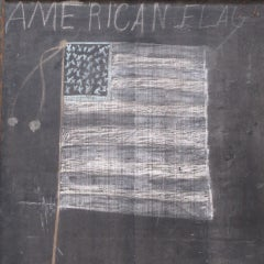 Framed Slate Blackboard With Chalk Tray And Flag On The Back image 3