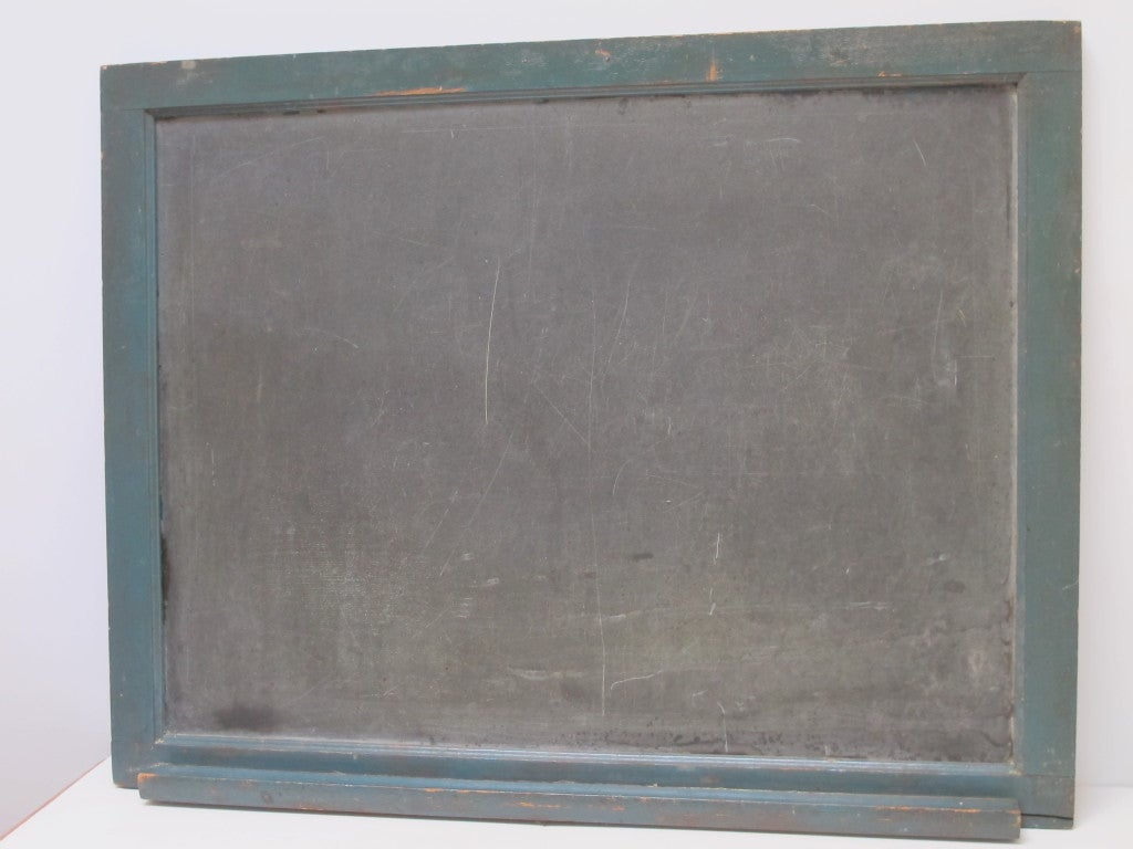 Framed Slate Blackboard With Chalk Tray And Flag On The Back 5