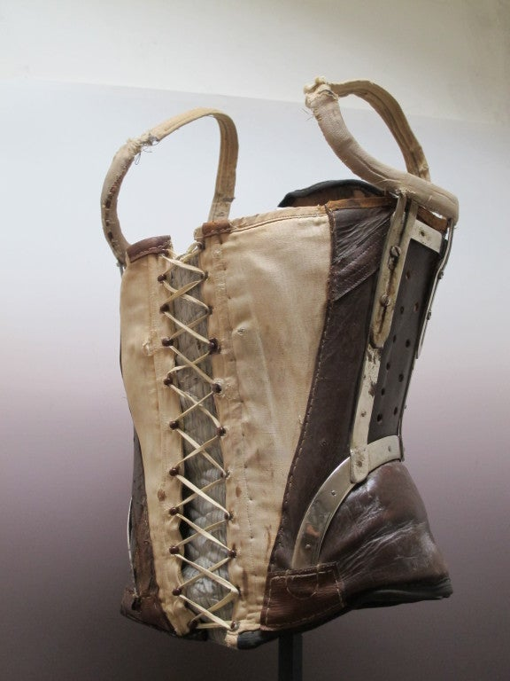 18th C Leather Corset With Metal Braces On Stand At 1stdibs
