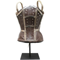 18th c, Leather Corset with Metal Braces on Stand
