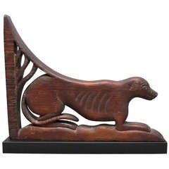 Carved Wood Dog Corbel