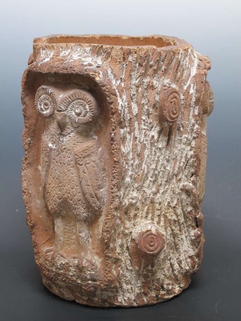 Terra Cotta Owls In Tree Pot At 1stdibs