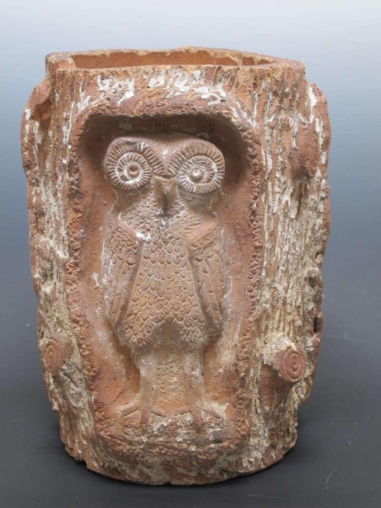 Terra Cotta Owls In Tree Pot At 1stdibs