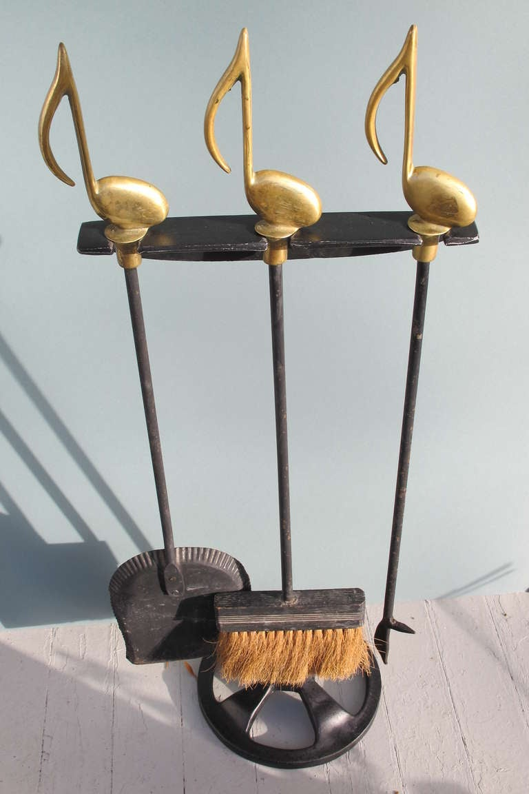Musical Notes Fireplace Tools Set With Holder At 1stdibs