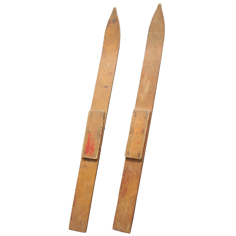 Early Child S Wooden Skis At 1stdibs