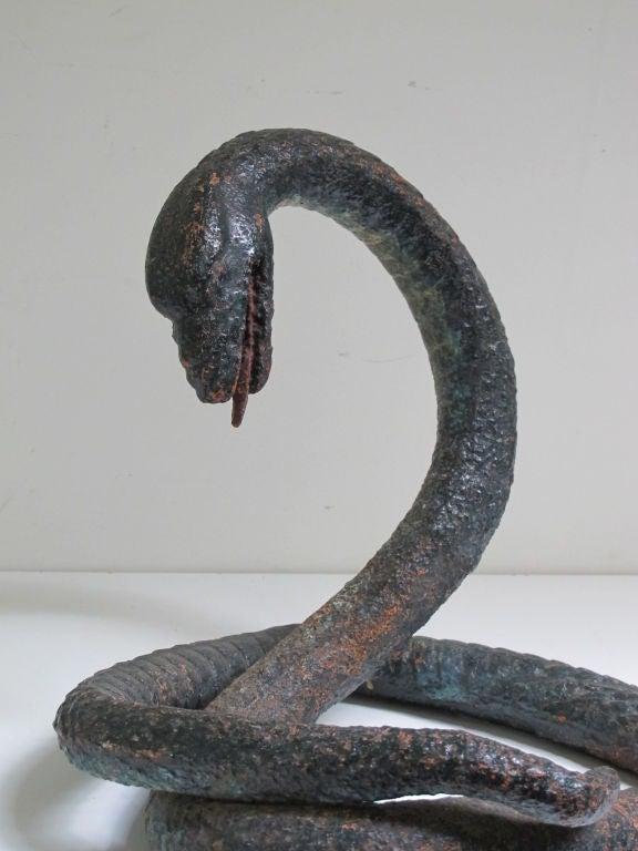 Iron Coiled Snake Folk Sculpture At 1stdibs