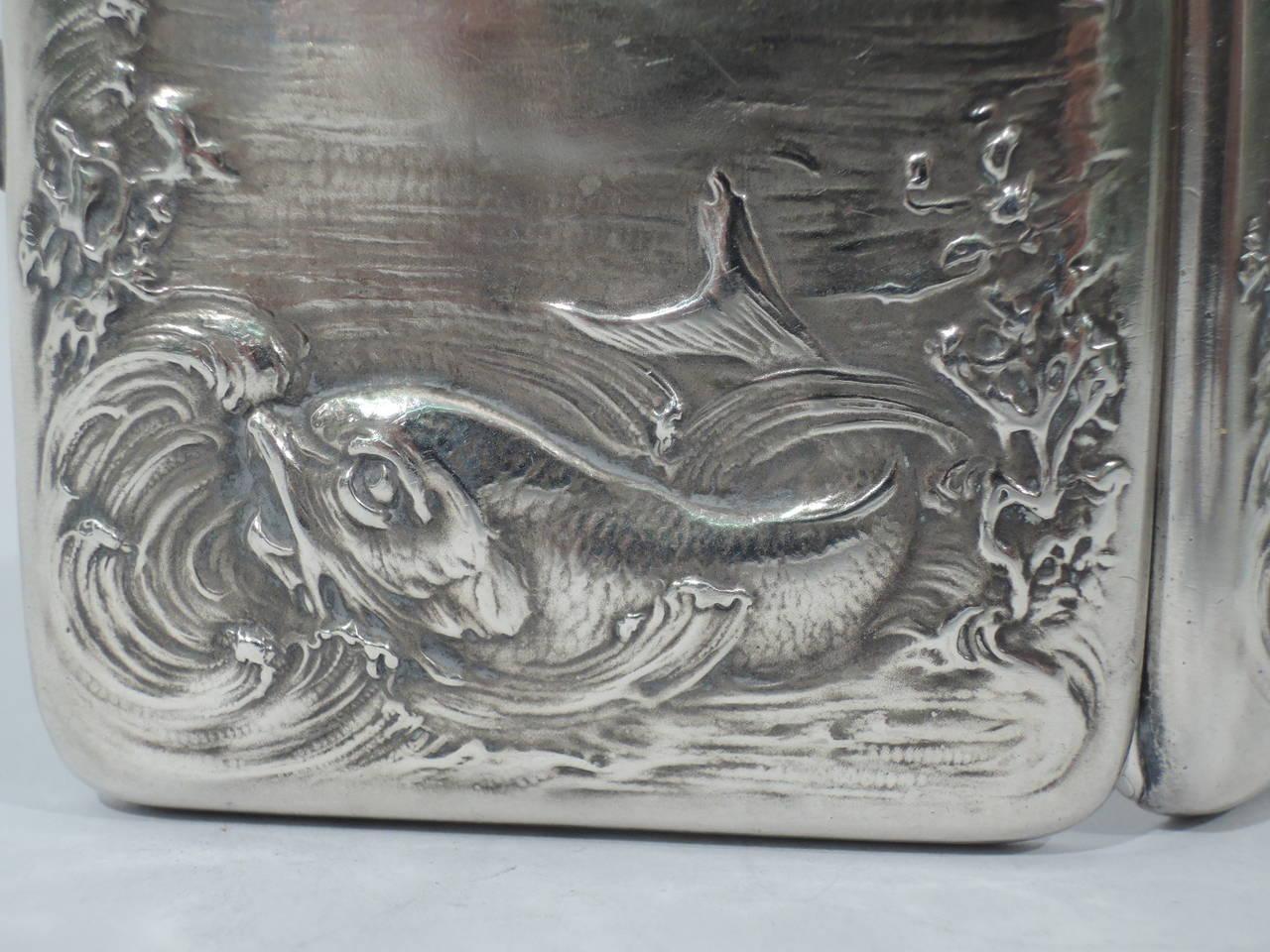 art nouveau sterling silver cigarette case with marine motif at 1stdibs. Black Bedroom Furniture Sets. Home Design Ideas