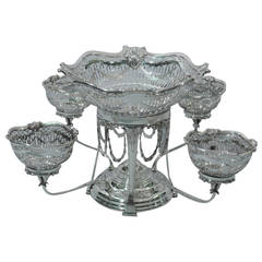 Elegant English Edwardian Epergne in Sumptuous Sterling Silver, 1902