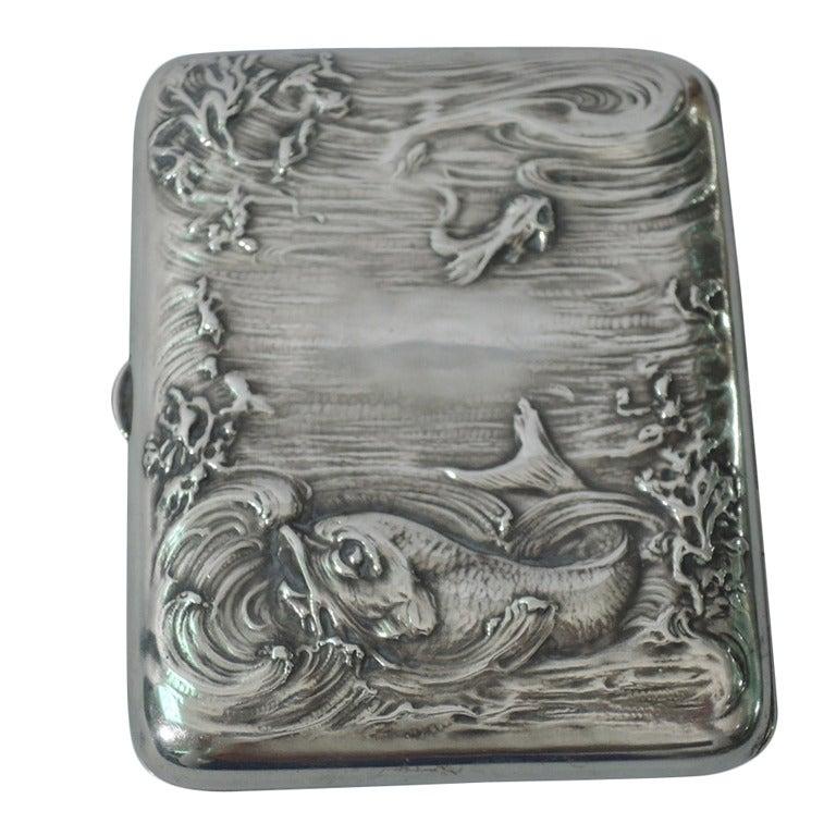 Art Nouveau Sterling Silver Cigarette Case with Marine Motif