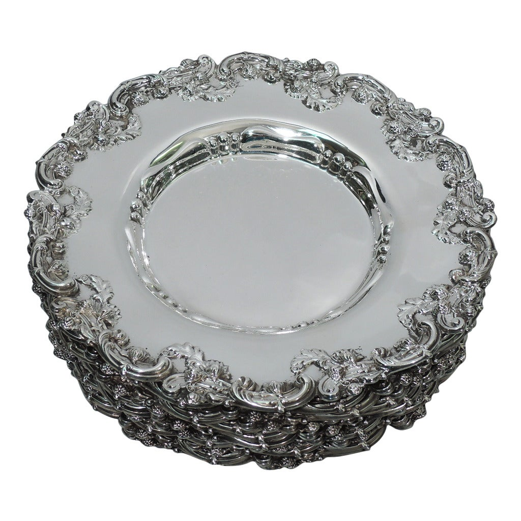 Fancy Sterling Silver Bread And Butter Plates By Graff