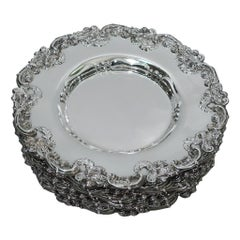 Fancy Sterling Silver Bread and Butter Plates by Graff, Washbourne & Dunn