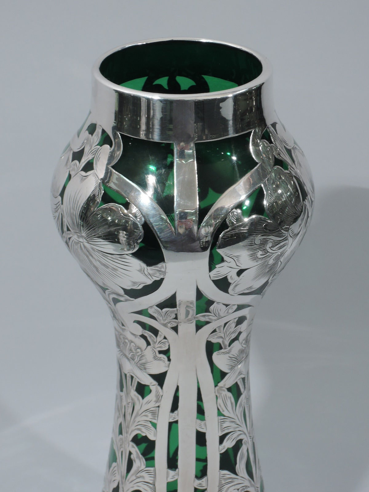 Art Nouveau Emerald Glass Vase With Silver Overlay By