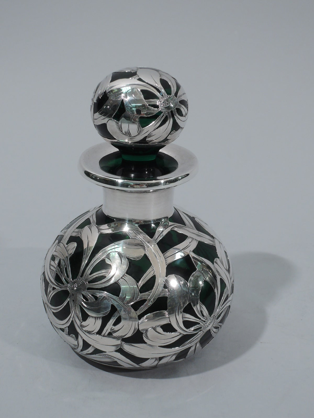 antique emerald glass perfume bottle with floral overlay at 1stdibs