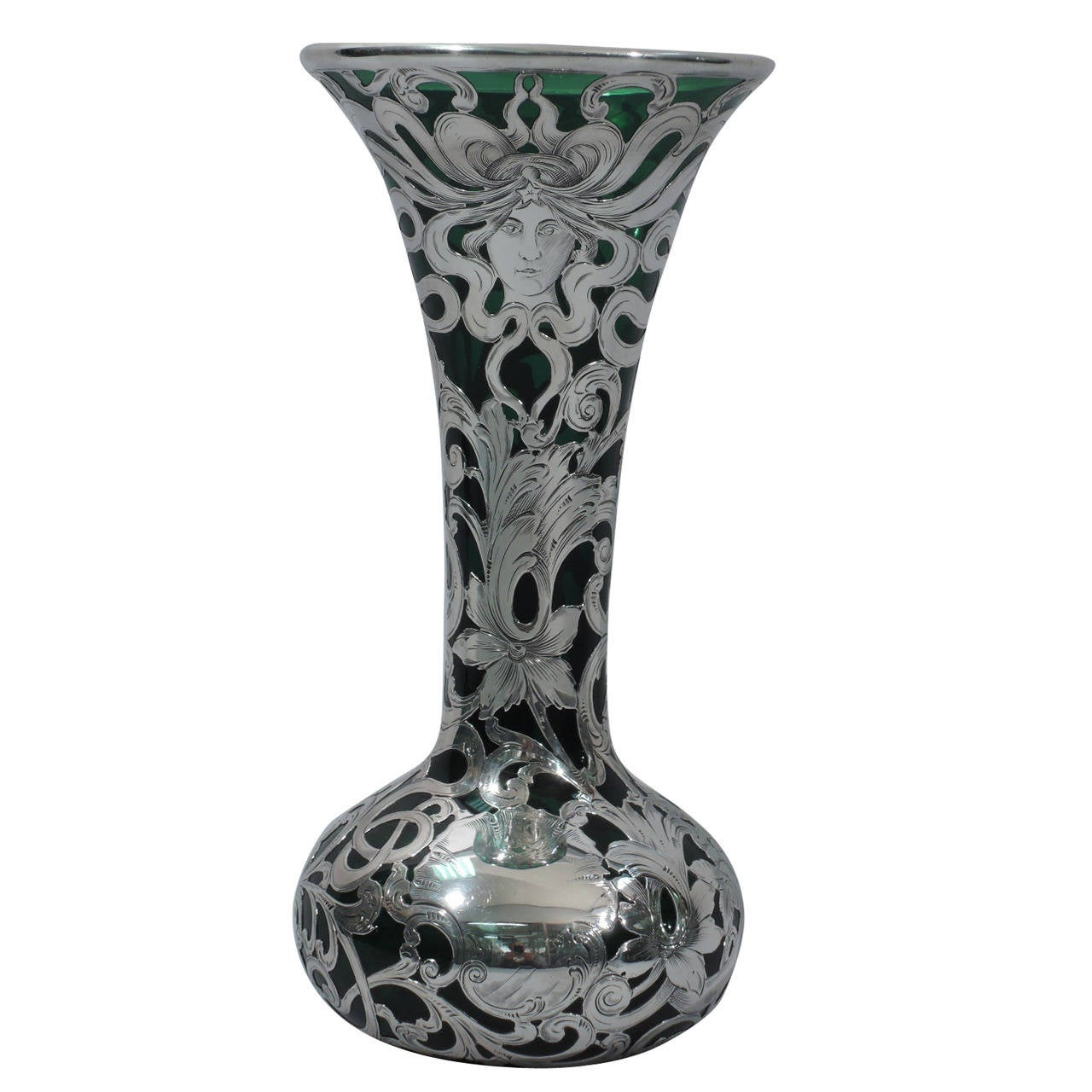 Dramatic art nouveau emerald glass vase with silver overlay by dramatic art nouveau emerald glass vase with silver overlay by alvin for sale reviewsmspy