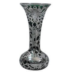 Dramatic Art Nouveau Emerald Glass Vase with Silver Overlay by Alvin
