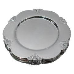 Set of 12 Art Deco Sterling Silver Bread & Butter Plates by Blackinton