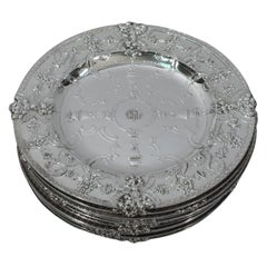 Set of 12 Fabulous Renaissance Sterling Silver Plates by Tiffany
