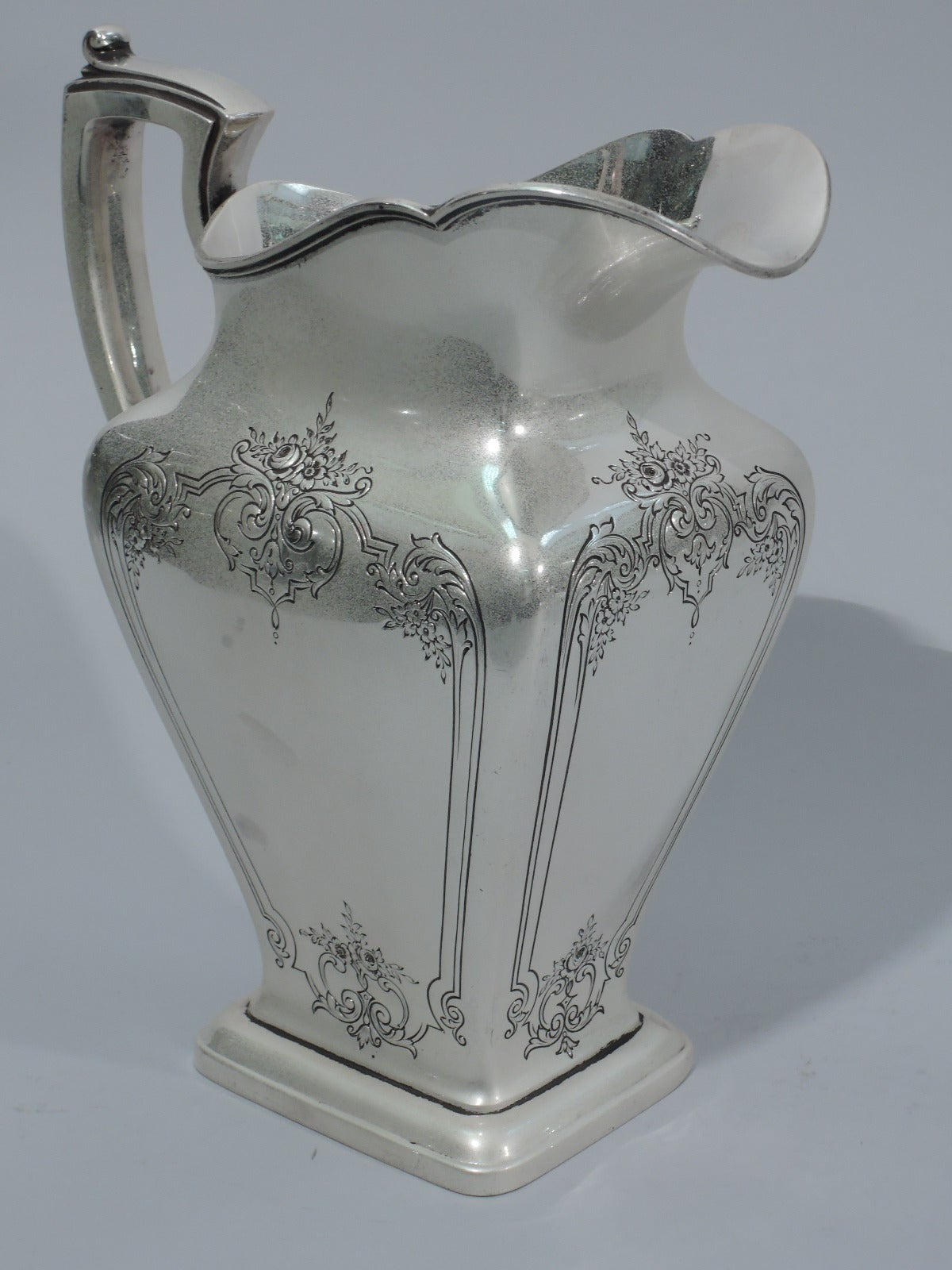 Pretty And Heavy Sterling Silver Water Pitcher By Reed And