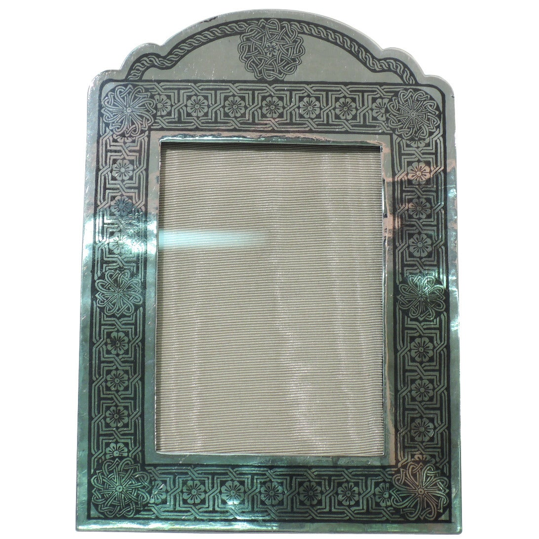 Persian Silver Picture Frame With Exotic Niello Ornament