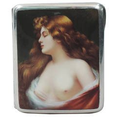 European Silver and Enamel Cigarette Case with Alluring Lorelei