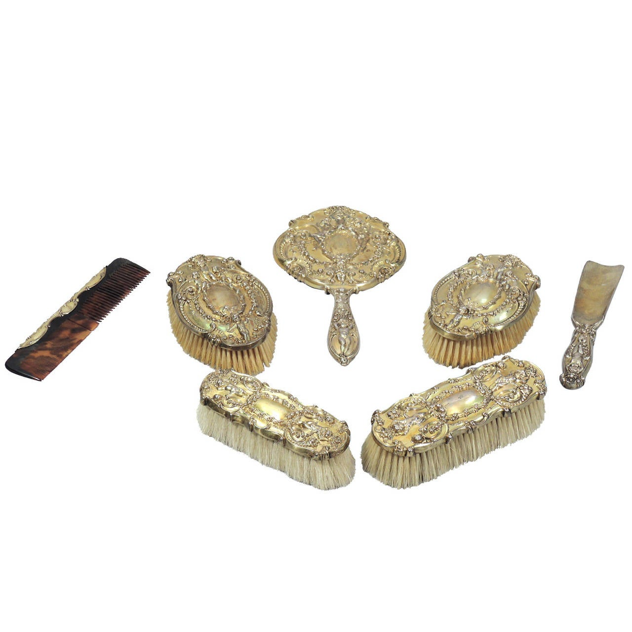 Tiffany And Co Gilded Age Sterling Silver Vanity Set With