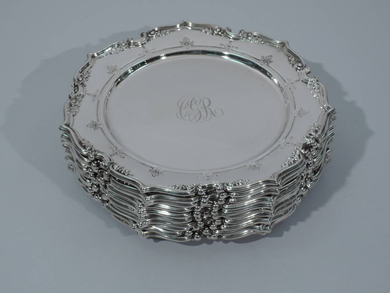 Set Of 12 Gorham Sterling Silver Bread And Butter Plates
