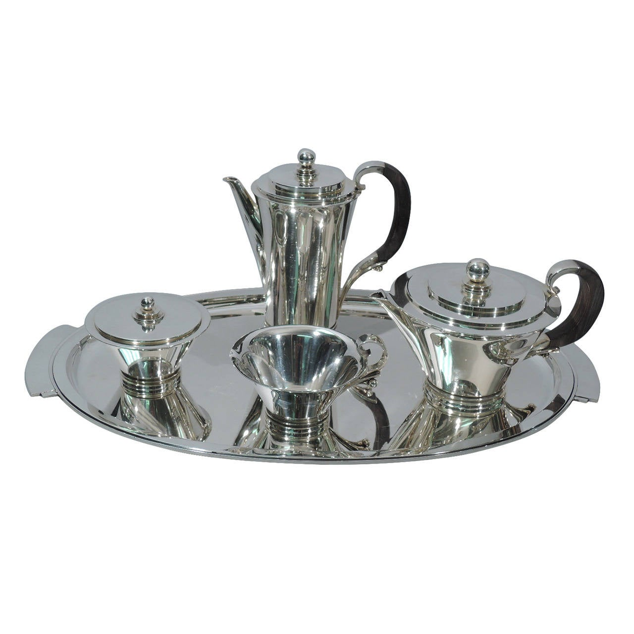georg jensen pyramid silver coffee and tea service at 1stdibs. Black Bedroom Furniture Sets. Home Design Ideas
