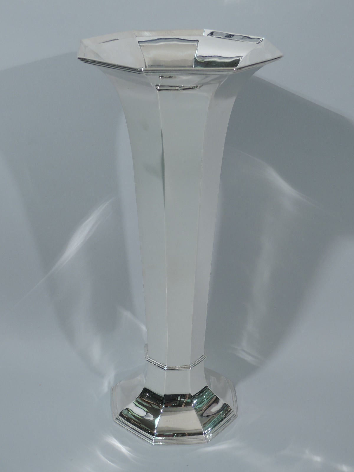 Large Art Deco Sterling Silver Trumpet Vase By Reed And