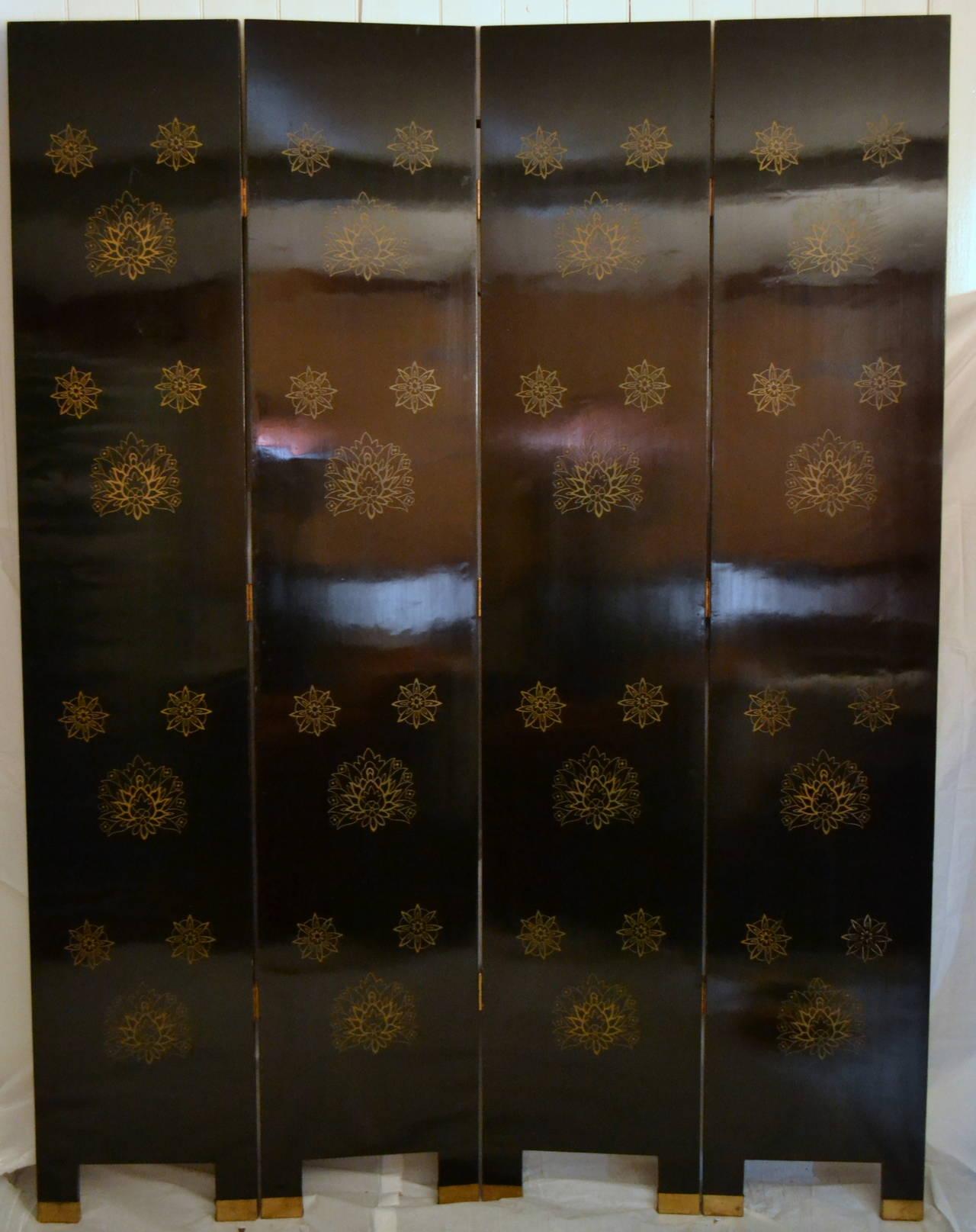 American Exquisite Custom Studio Trompe L'oeil Four-Panel Folding Screen For Sale