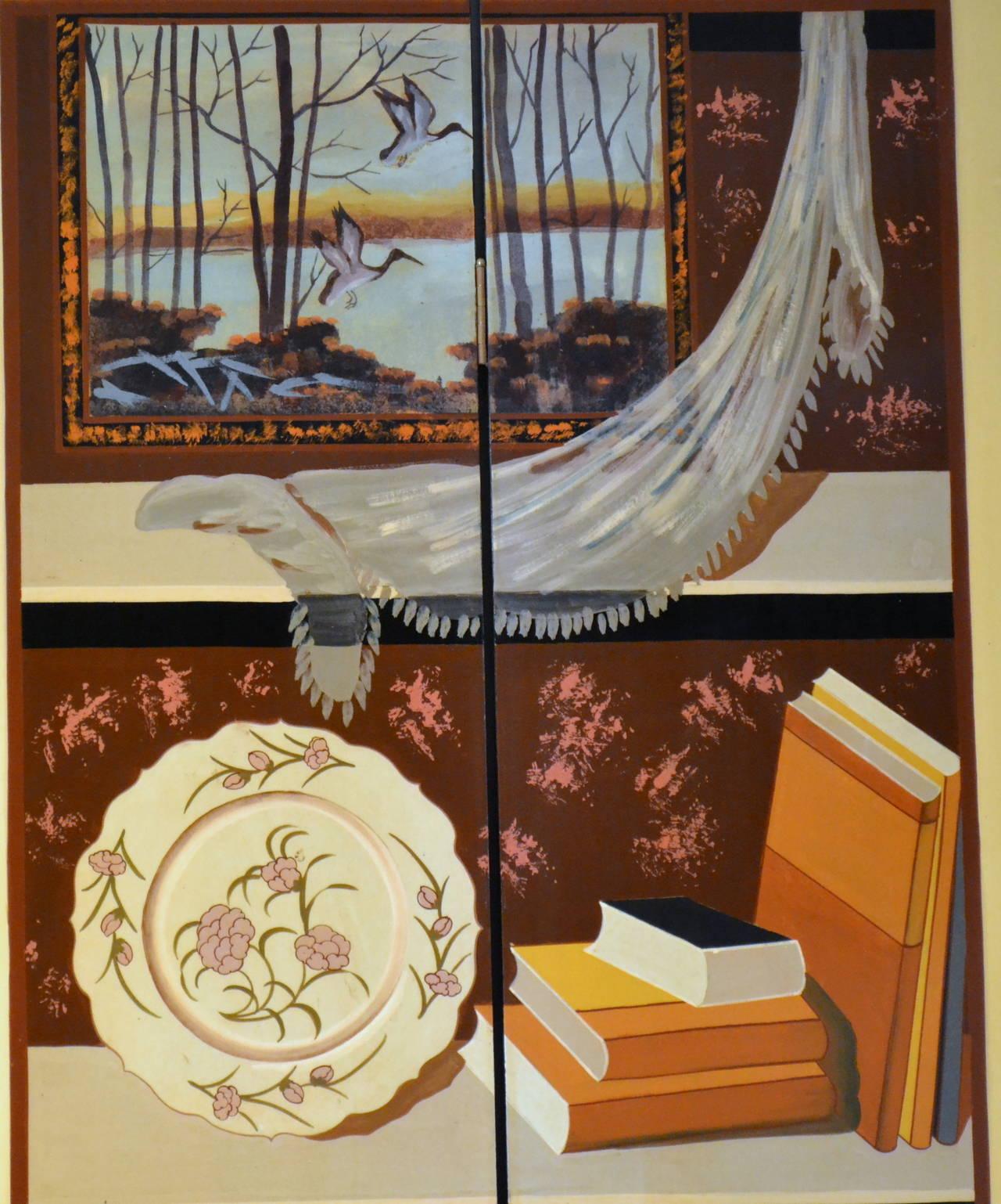 Mid-20th Century Exquisite Custom Studio Trompe L'oeil Four-Panel Folding Screen For Sale