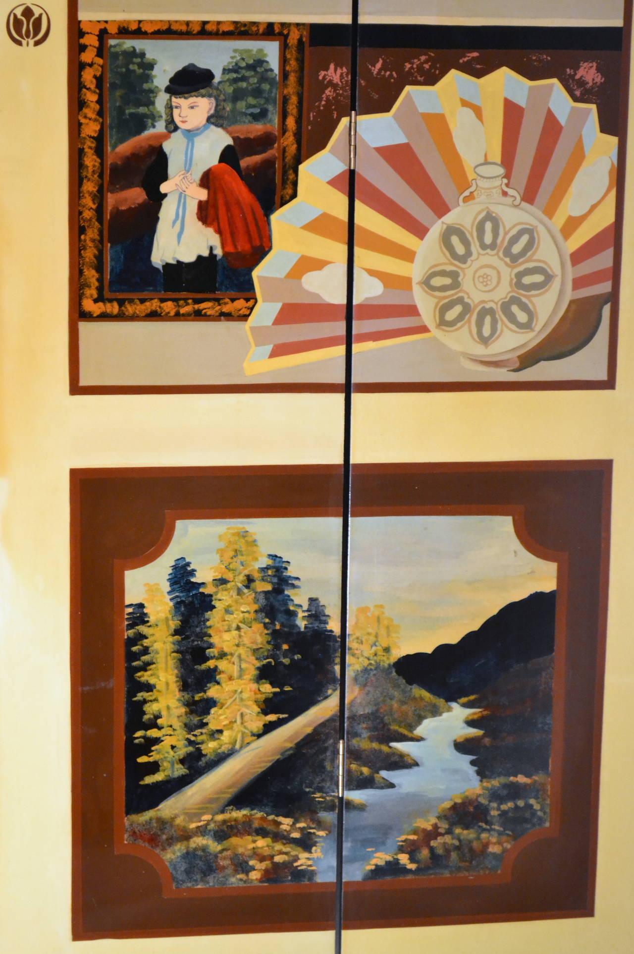 Exquisite Custom Studio Trompe L'oeil Four-Panel Folding Screen For Sale 1