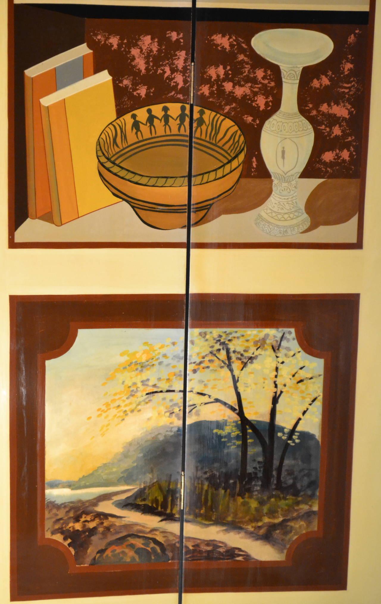 Exquisite Custom Studio Trompe L'oeil Four-Panel Folding Screen For Sale 2