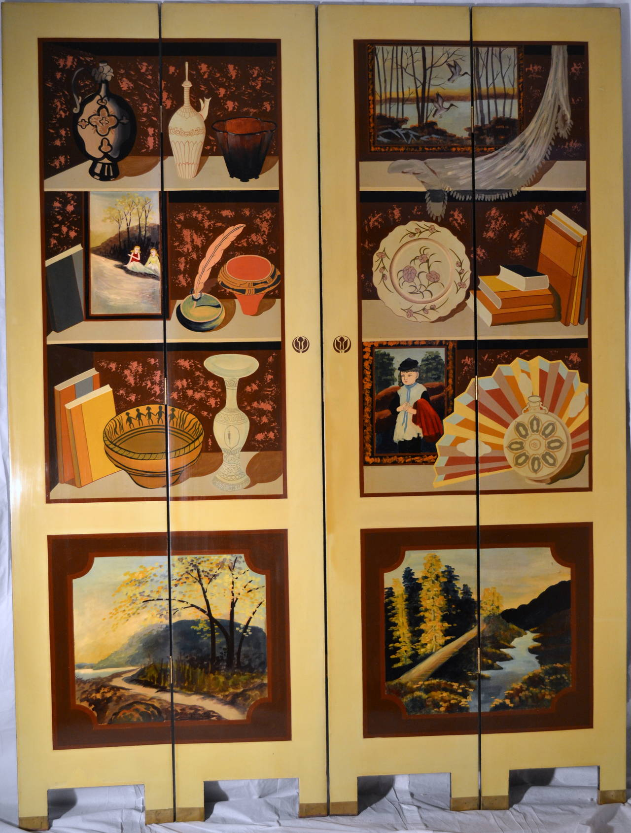Exquisite Custom Studio Trompe L'oeil Four-Panel Folding Screen 2