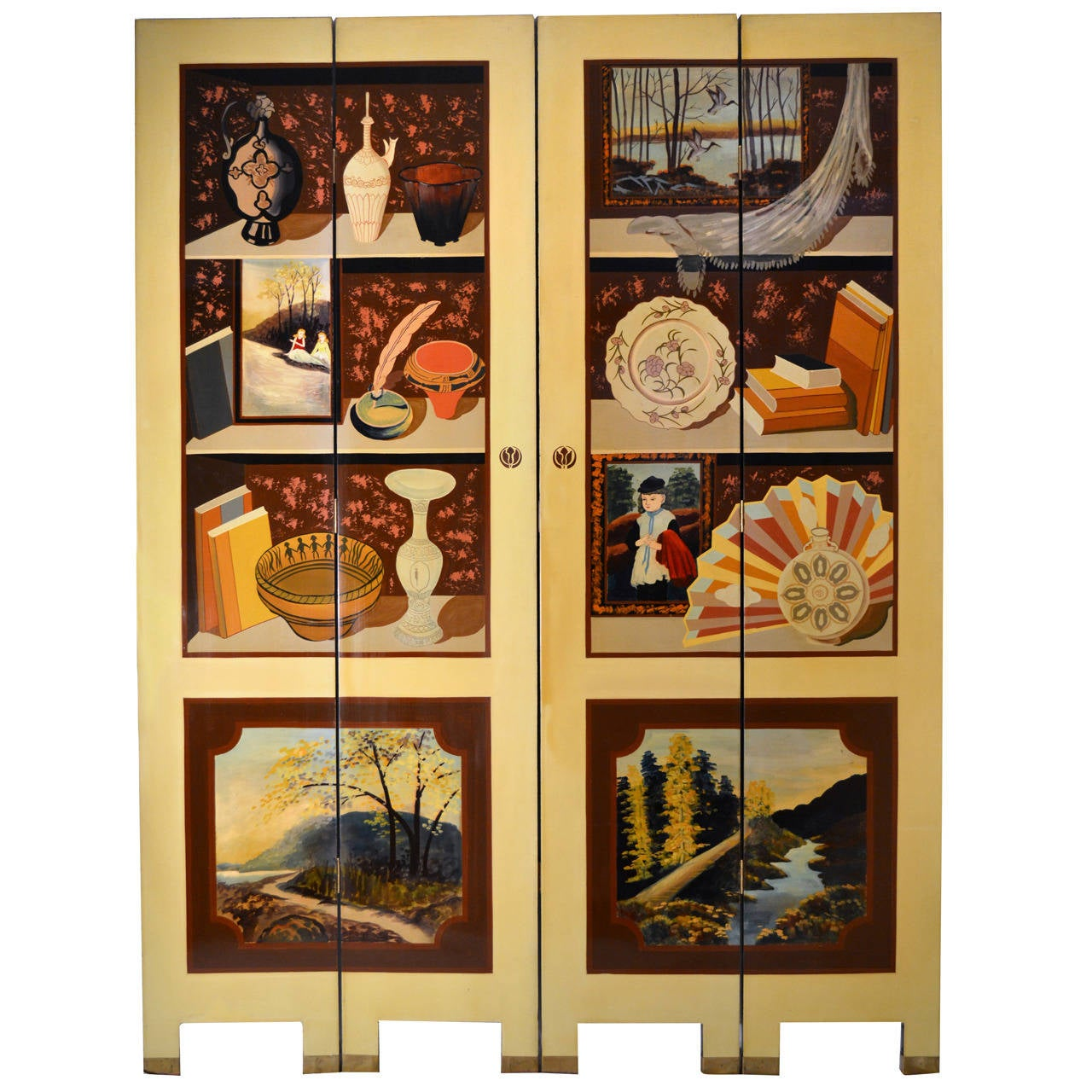 Exquisite Custom Studio Trompe L'oeil Four-Panel Folding Screen For Sale