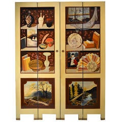 Exquisite Custom Studio Trompe L'oeil Four-Panel Folding Screen