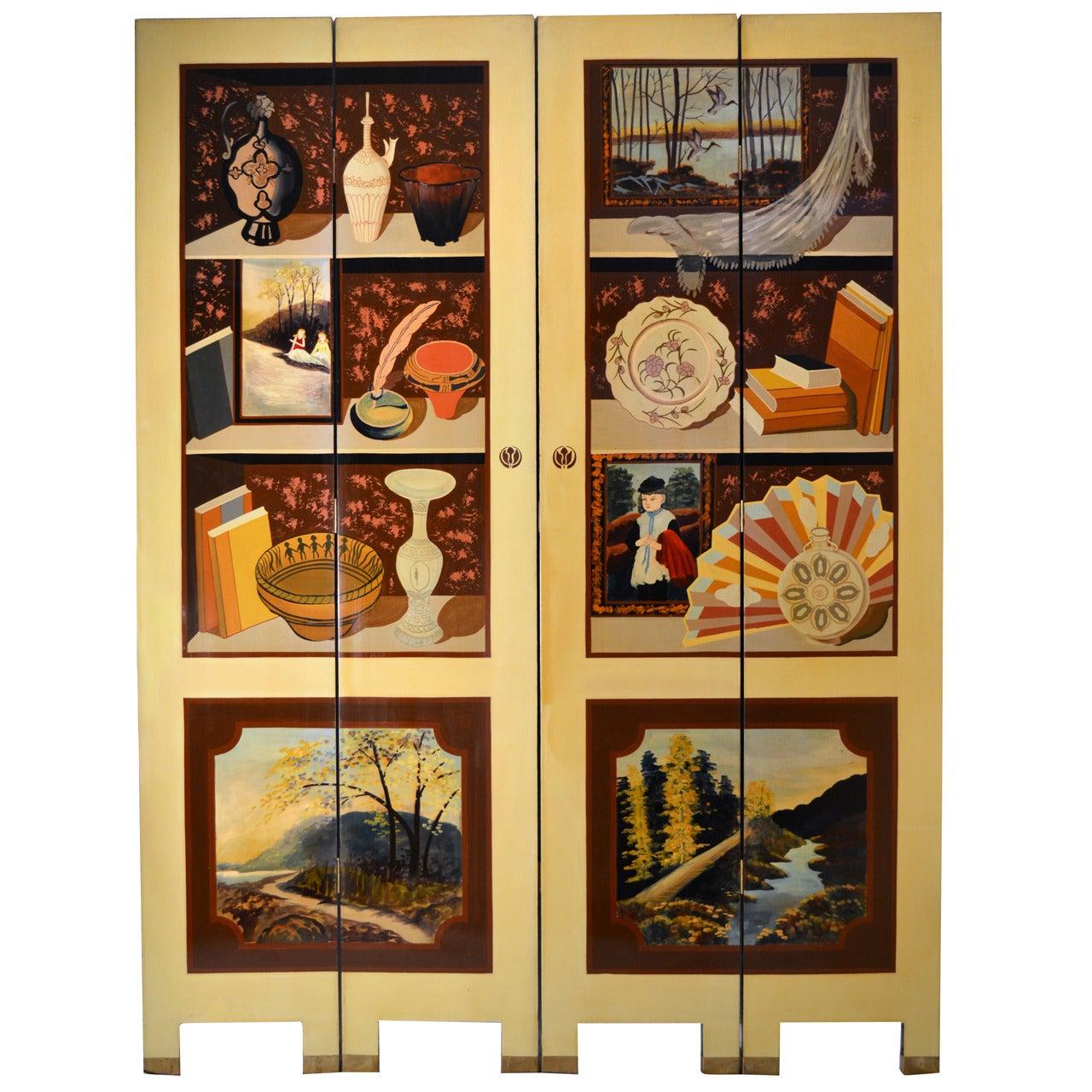 Exquisite Custom Studio Trompe L'oeil Four-Panel Folding Screen